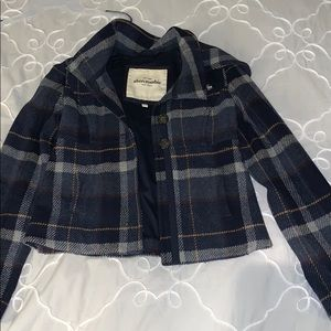 Abercrombie kids navy plaid wool peacoat with hood